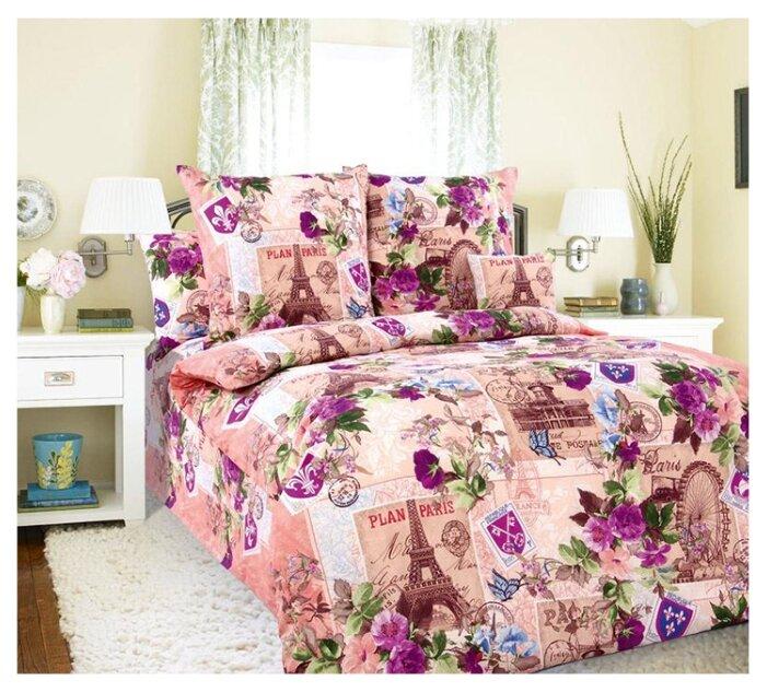 Постельное белье 1.5-спальное Текс-Дизайн Париж, бязь розовый/фиолетовый