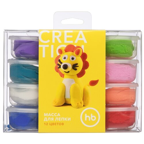 Купить Масса для лепки Happy Baby 12 цветов, застывающая (36014), Пластилин и масса для лепки
