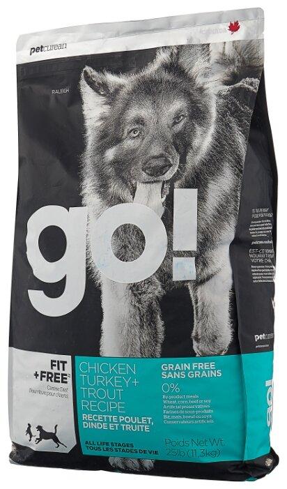 Корм для собак GO! Fit + Free лосось, утка, индейка, курица 11.35 кг