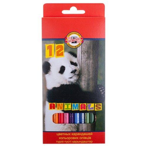 Купить KOH-I-NOOR Карандаши цветные Животные, 12 цветов (3552012008KSRU), Цветные карандаши