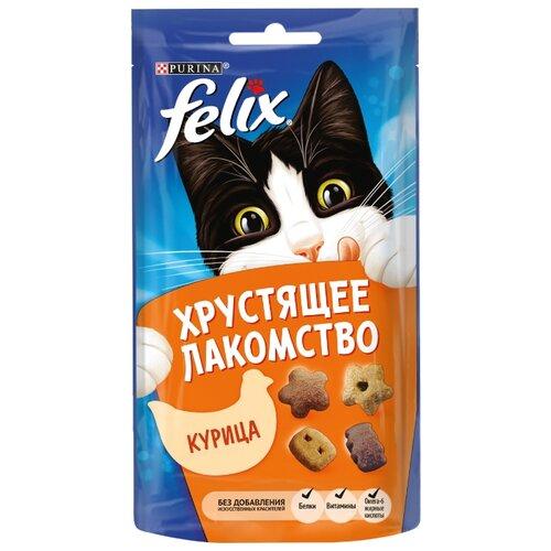 Лакомство для кошек Felix Хрустящее лакомство со вкусом курицы, 60г felix лакомство для кошек felix рыба