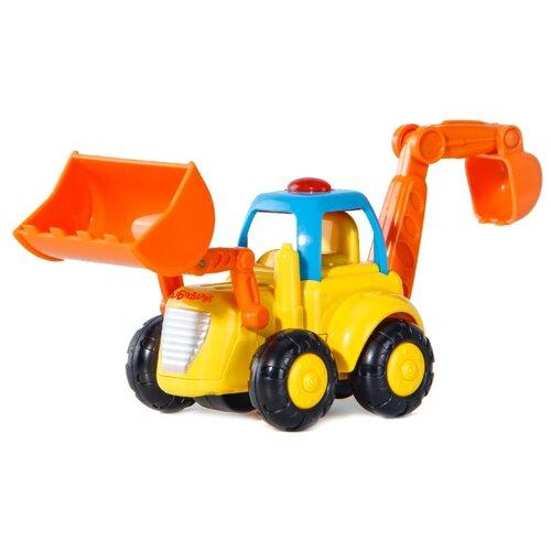 цена Развивающая игрушка Азбукварик Бульдозер желтый/оранжевый онлайн в 2017 году