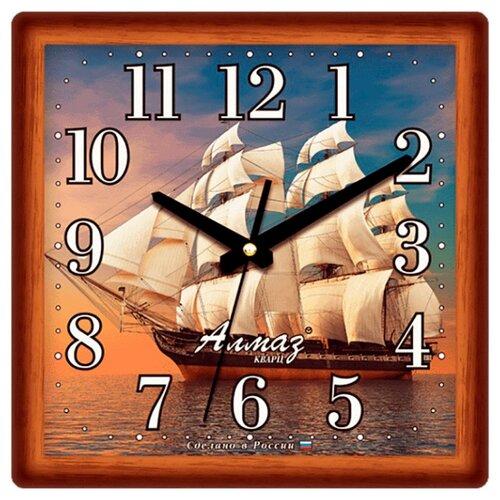 Часы настенные кварцевые Алмаз K49 коричневый/бежевый