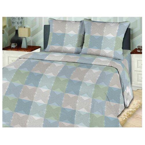 цена Постельное белье 2-спальное с евро простыней Toontex Каприз бязь серый/голубой/зеленый онлайн в 2017 году