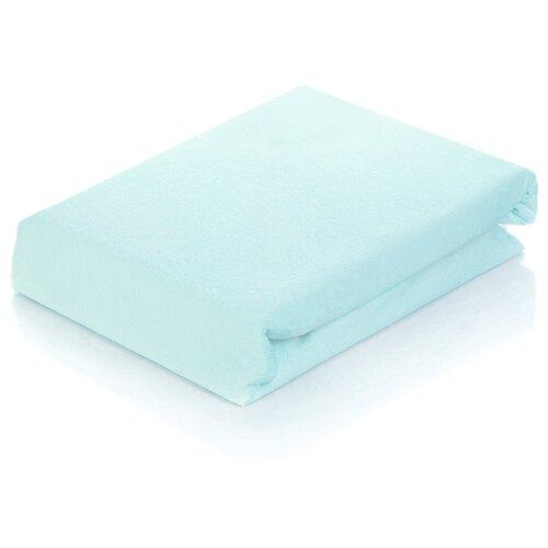 цена Простыня АльВиТек сатин на резинке 90 х 200 см голубой онлайн в 2017 году