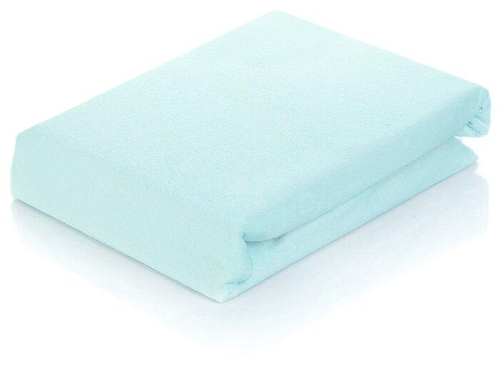 Простыня АльВиТек сатин на резинке 90 х 200 см голубой