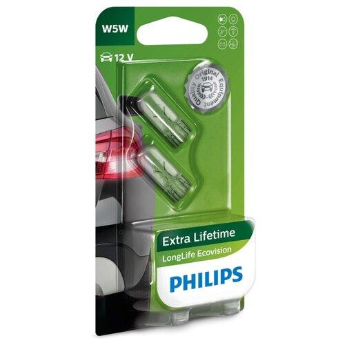 Лампа автомобильная накаливания Philips LongLife EcoVision 12961LLECOB2 12V 5W 2 шт. фото
