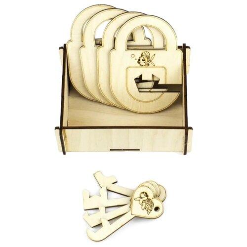 Купить Головоломка Woodland Замочки и ключики №3 (63203) бежевый, Головоломки