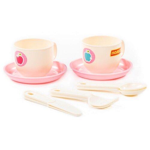 """Набор посуды Полесье """"Минутка"""" на 2 персоны белый/розовый"""