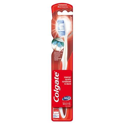 Зубная щетка Colgate 360° Optic white отбеливающая, красный