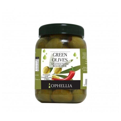 Ophellia Зеленые оливки фаршированные красным перцем, 500 г