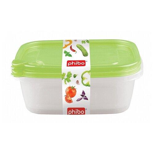 Phibo Комплект контейнеров с клапаном Фрэш 1,25л (2 шт) прозрачный/зеленый