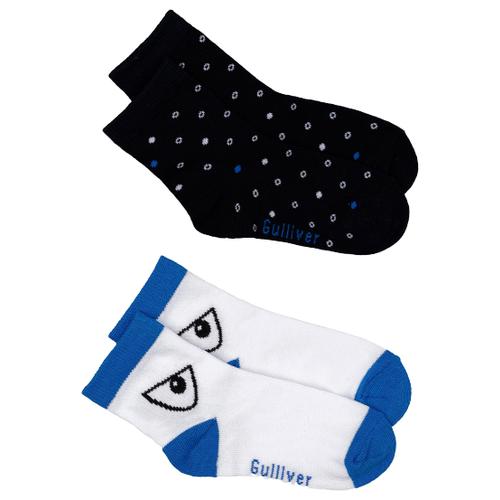 Носки Gulliver Baby комплект 2 пары размер 18-20, синий/белый/черный