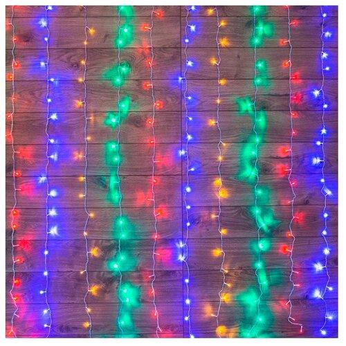 Гирлянда NEON-NIGHT Дождь, 150х150 см, 144 ламп, разноцветный/прозрачный провод