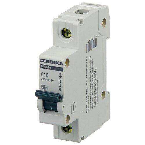Автоматический выключатель IEK ВА 47-29 GENERICA 1P (C) 4,5kA 16 А автомат iek 3п c 40а ва 47 100