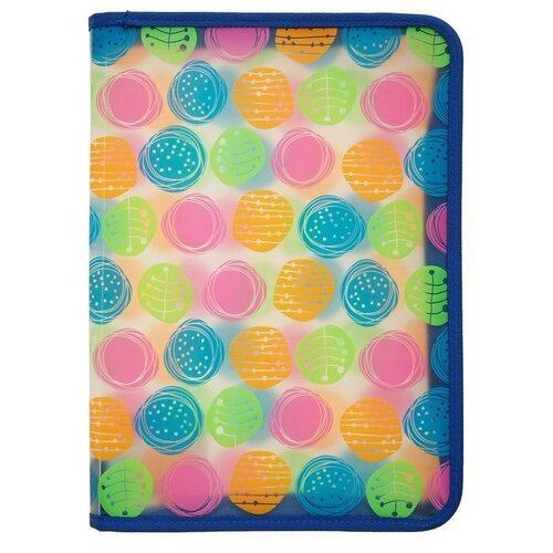 ErichKrause Папка на молнии пластиковая Buttons, А4 прозрачный/голубой