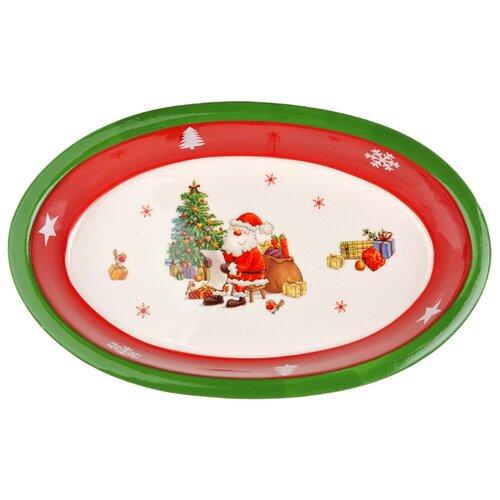 Millimi Блюдо Новый год 28 х 17 см белый/красный/зеленый