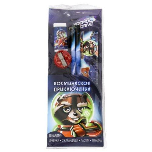 Купить ArtFox Набор чернографитных карандашей Космическое приключение 2 шт с ластиком, точилкой и линейкой (4064253), Карандаши