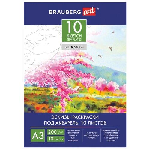 Фото - Папка для акварели BRAUBERG Art с эскизами 42 х 29.7 см (A3), 200 г/м², 10 л. папка для акварели brauberg скорлупа a3 10 листов