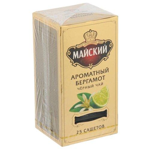 Чай черный Майский Ароматный бергамот в пакетиках, 25 шт. майский чайная матрешка синяя черный листовой чай 30 г