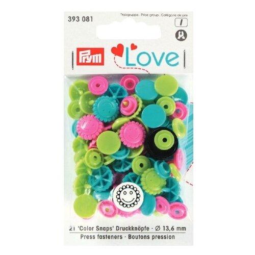 Купить Prym Кнопки непришивные Love Color Snaps цветок 393081, голубой/зеленый/ярко-розовый, 13.6 мм, 21 шт.