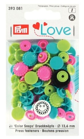 Prym Кнопки непришивные Love Color Snaps цветок (393080, 393081), 13.6 мм, 21 шт.