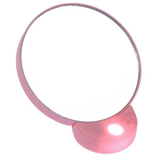 Купить Зеркало косметическое LuazON KZ-08 с подсветкой розовый