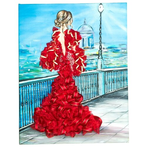 Купить Волшебная Мастерская Мозаика из пайеток Девушка в красном МХ-31, Картины из пайеток