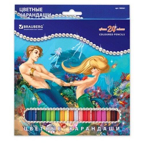Купить BRAUBERG Карандаши цветные Морские легенды 24 цвета (180561), Цветные карандаши