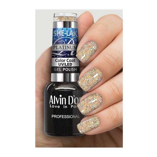 Гель-лак Alvin D'or She-Lak Platinum, 8 мл, оттенок 7302