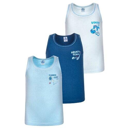 Купить Майка BAYKAR 3 шт., размер 146/152, белый/голубой/синий, Белье и пляжная мода