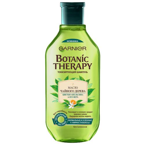 Купить GARNIER шампунь Botanic Therapy Масло чайного дерева, цветки апельсина, алоэ вера Тонизирующий для нормальных и склонных к жирности волос 400 мл