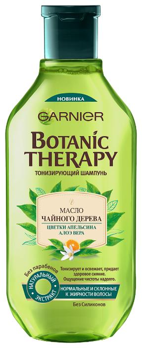 GARNIER шампунь Botanic Therapy Масло чайного дерева, цветки апельсина, алоэ вера Тонизирующий для нормальных и склонных к жирности волос — купить по выгодной цене на Яндекс.Маркете