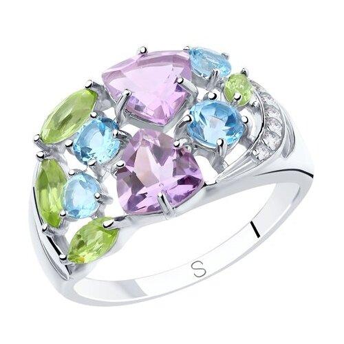 SOKOLOV Кольцо из серебра с миксом камней 92011834, размер 19