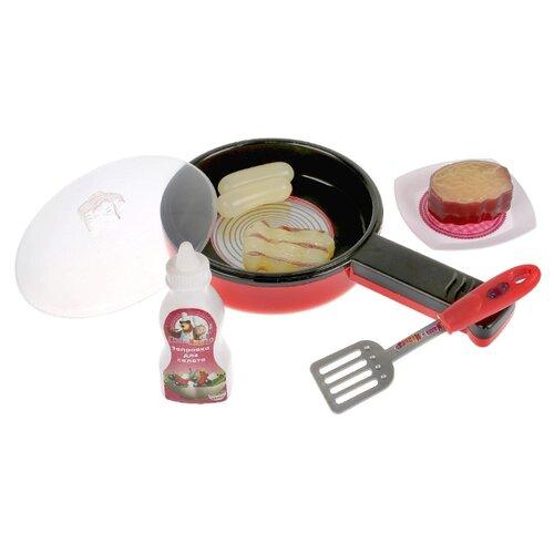 Набор продуктов с посудой Играем вместе Маша и Медведь ZY748571-R красный/черный/серый гитара играем вместе маша и медведь