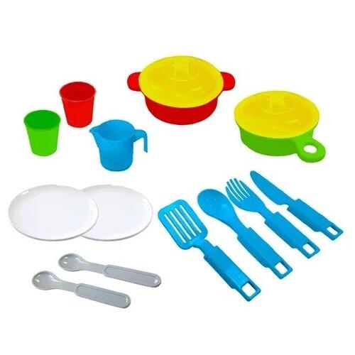 Фото - Набор посуды Green Plast НП02 голубой/желтый/красный/зеленый набор посуды тигрес ромашка 39121 красный желтый зеленый синий