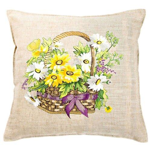 Чехол для подушки Pastel Корзина ромашек 45х45 см (1315717) бежевый чехол для подушки violet листья жаккард 45х45 см p02 5003 1