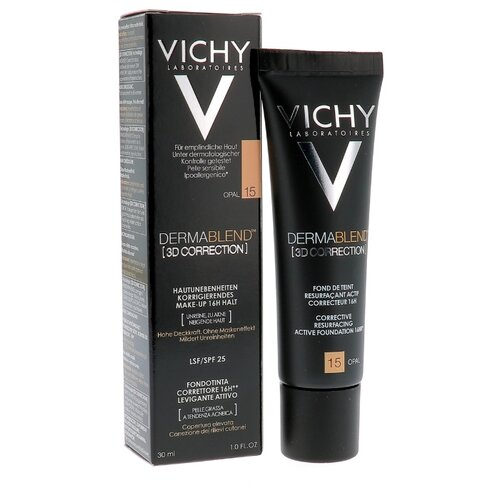 Vichy Тональный крем Dermablend 3D Correction, 30 мл, оттенок: 15 Opal консилер dermablend cosmetique corrective от vichy