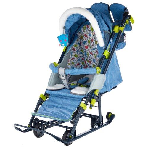 Санки-коляска Nika Ника детям 7-3 (НД 7-3) в джинсовом стиле (синий) цена 2017