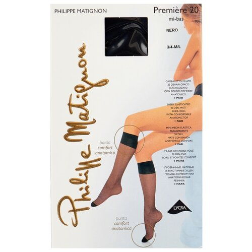 Капроновые гольфы Philippe Matignon Premiere 20 den mi-bas, размер 3/4 (M/L), nero