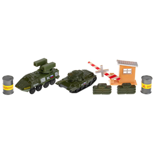 Купить Набор техники ТЕХНОПАРК из двух моделей Военная база с аксессуарами (30715-R) 7.5 см зеленый, Машинки и техника