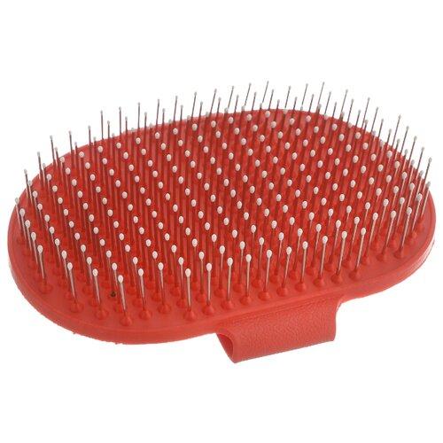 Щетка-варежка КАСКАД 17500041 на руку (с каплями) красный
