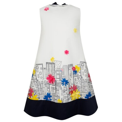 Купить Платье Il Gufo размер 140, белый/синий, Платья и сарафаны