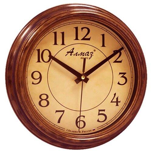 Часы настенные кварцевые Алмаз C16 бронзовый/бежевый часы настенные кварцевые алмаз c25 розовый бежевый