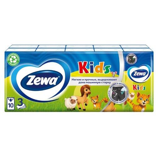 Платочки Zewa Kids бумажные носовые, 3 слоя, 10 шт. x 10,, 100 шт.