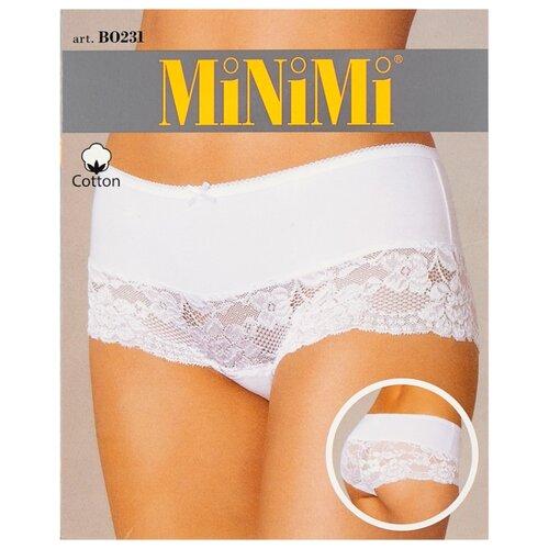 MiNiMi Трусы Трусы-шорты средней посадки с кружевом, размер 52/XXL, avorio трусы шорты no romeo