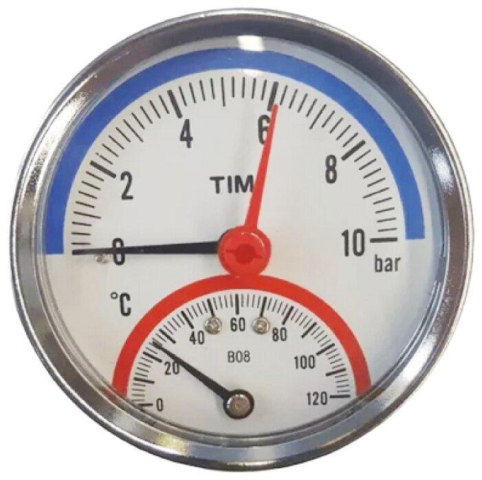 Термоманометр аксиальный 10 бар TIM Y-80T-10bar