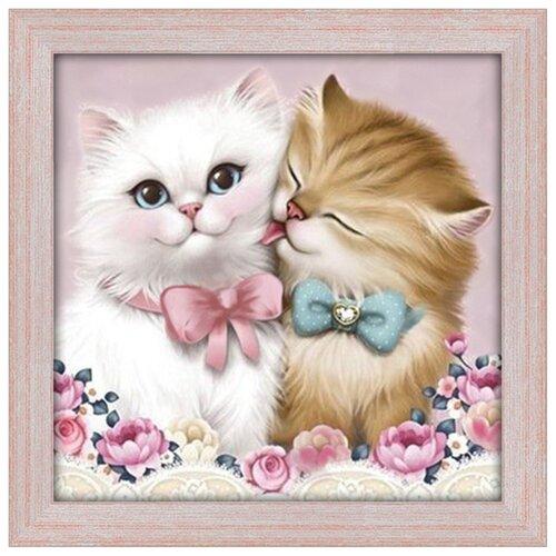 Купить Алмазная живопись Набор алмазной вышивки Кот и кошка (АЖ-1296) 25х25 см, Алмазная вышивка