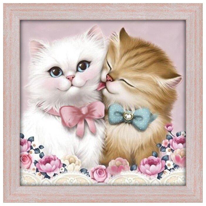 Алмазная живопись Набор алмазной вышивки Кот и кошка (АЖ-1296) 25х25 см