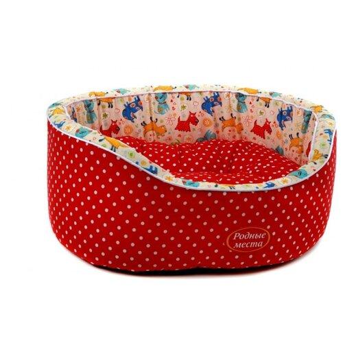 Лежак для собак и кошек Родные места Премиум №1 Красный горошек с собачками 43х38х15 см красный/белый